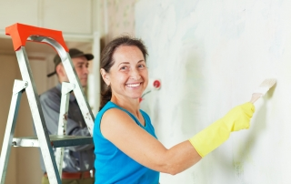 mature couple painting