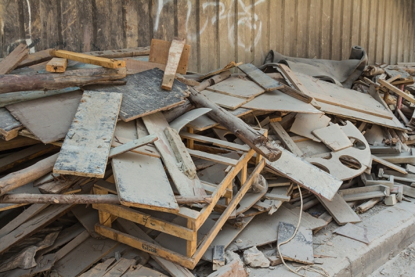 Pile of wood, trash from building construction
